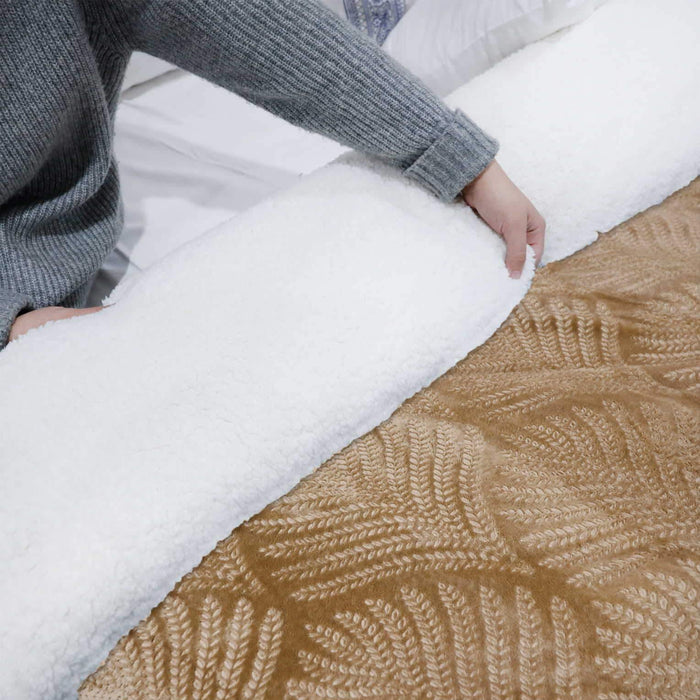 Ultrasoft & Warm Leaf Embossed Sherpa Rasaye/Quilt Skin - Cotton Passion