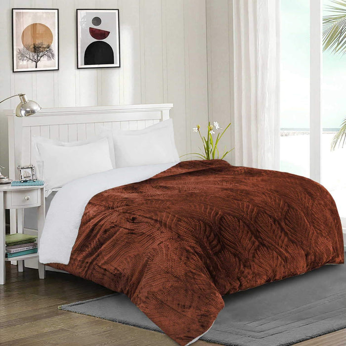 Ultrasoft & Warm Leaf Embossed Sherpa Rasaye/Quilt Copper - Cotton Passion