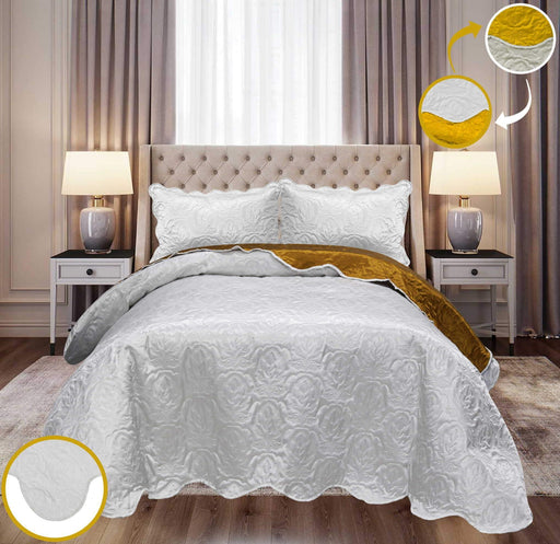 Ultrasonic Satin Bedspreads Double Sided White/Golden - Cotton Passion
