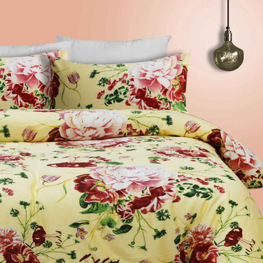 Yellow Rosette Quilt Cover Set - Cotton Passion