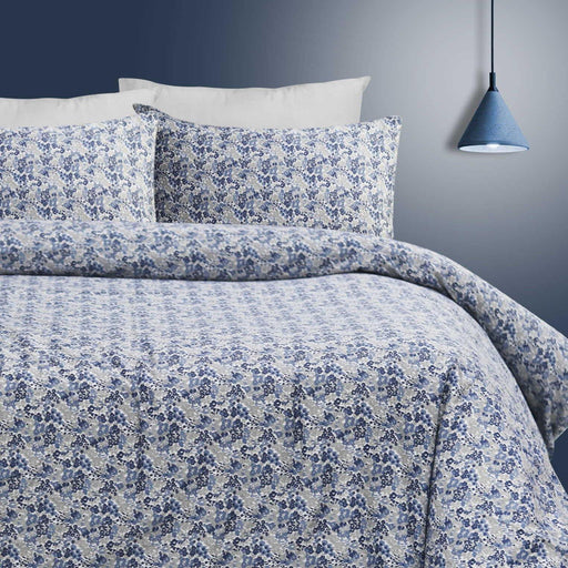 Floral Blue Quilt Cover Set - Cotton Passion