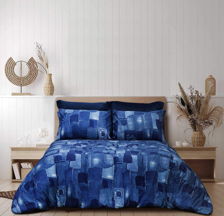 Denim Patches Pure Cotton Bedsheet - Cotton Passion