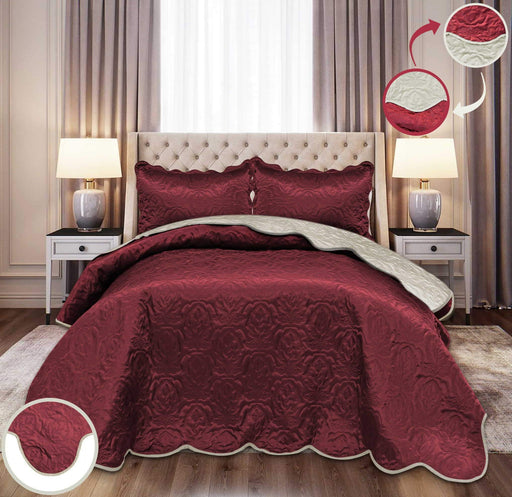 Ultrasonic Satin Bedspreads Double Sided Maroon/Light Gold - Cotton Passion