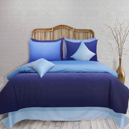 Ombre Blue Pure Cotton Bedsheet - Cotton Passion
