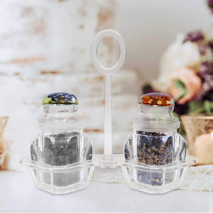 4 Pcs Salt & Pepper Set with Transparent Holder - Cotton Passion