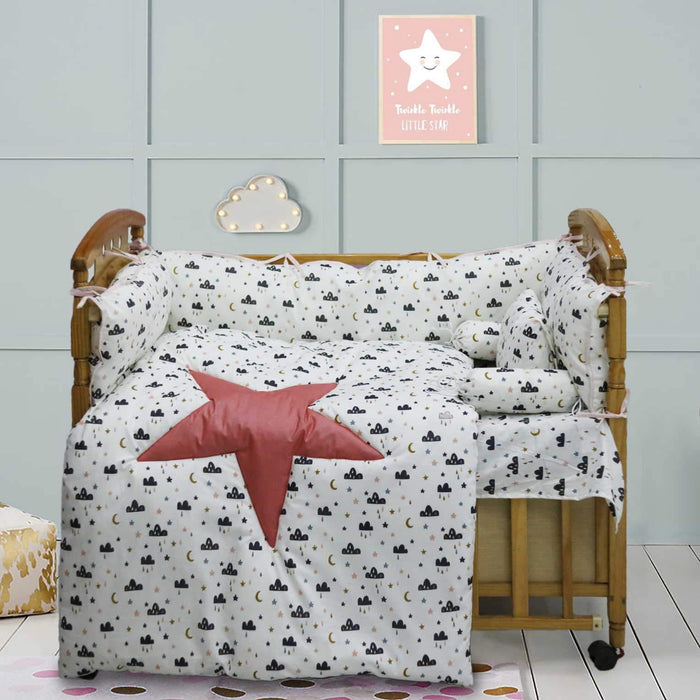Pink Star Baby Cot Set - Cotton Passion