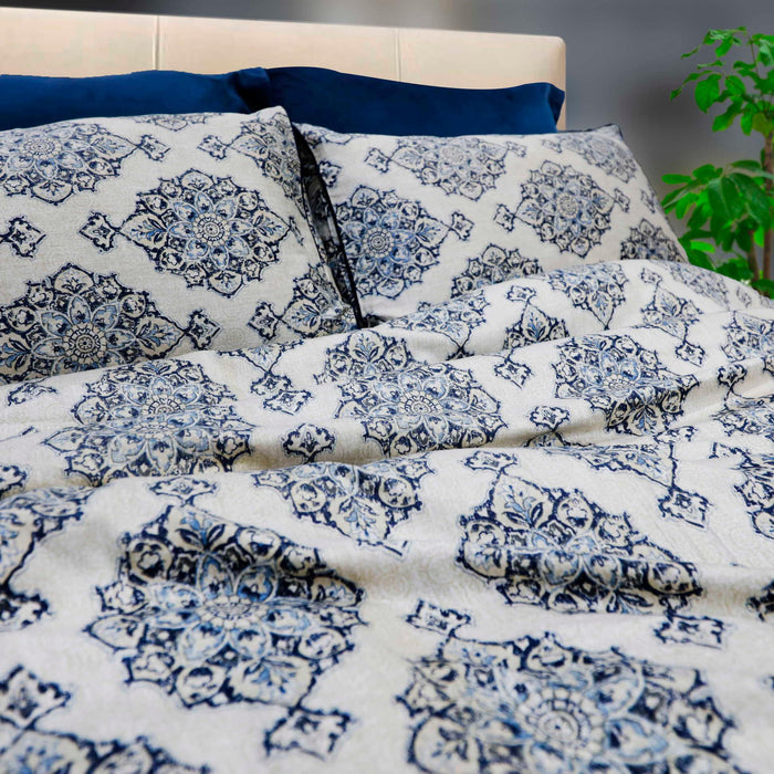 Sahara Blue Sateen Bedsheet - Cotton Passion