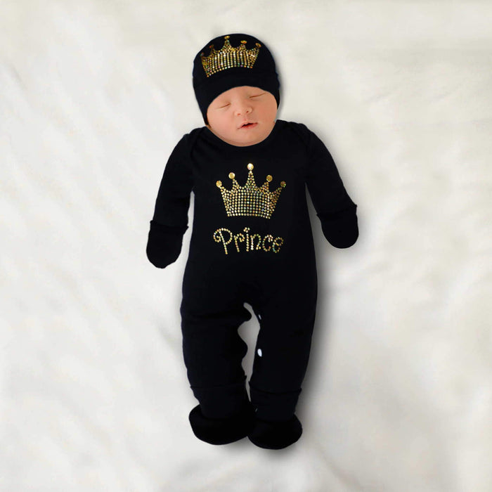 Golden Crown Prince Baby Romper Set Black - Cotton Passion