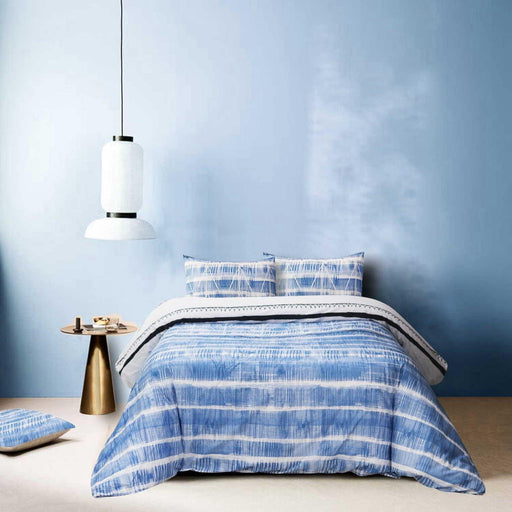 Distorted Blue Quilt Cover Set - Cotton Passion