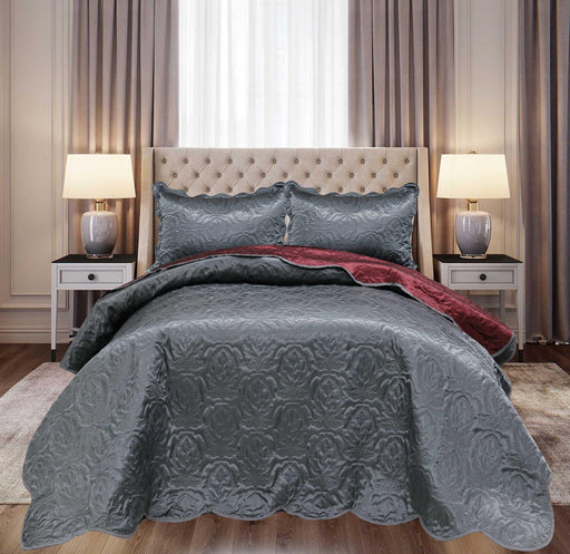 Ultrasonic Satin Bedspreads Double Sided Maroon/Grey - Cotton Passion