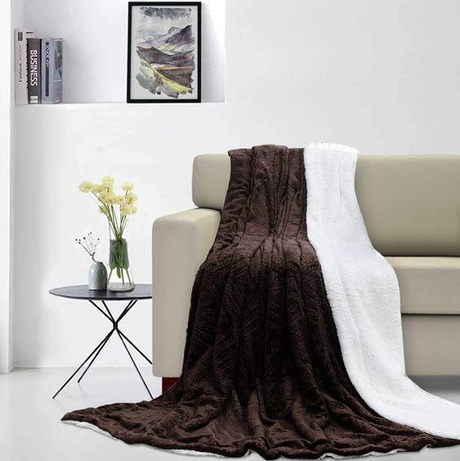 Leaf Embossed Sherpa Blankets Throw - Cotton Passion