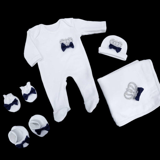 Navy Blue Baby Crown Romper Set - Cotton Passion
