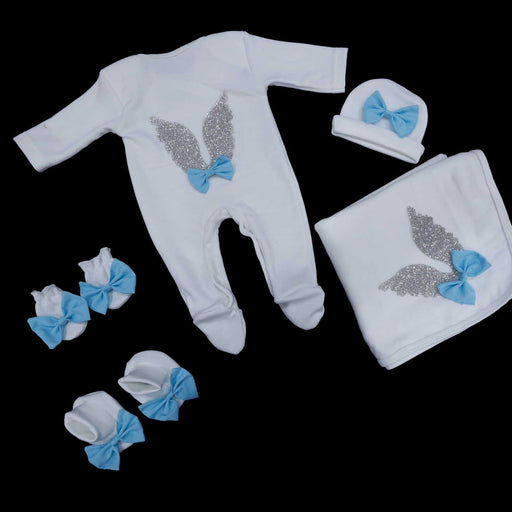 Wings Baby Romper Set Blue - Cotton Passion