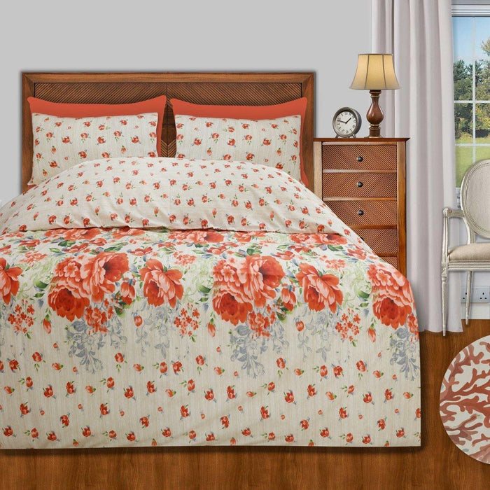 Orange Meadow Polycotton Quilt Cover - Cotton Passion