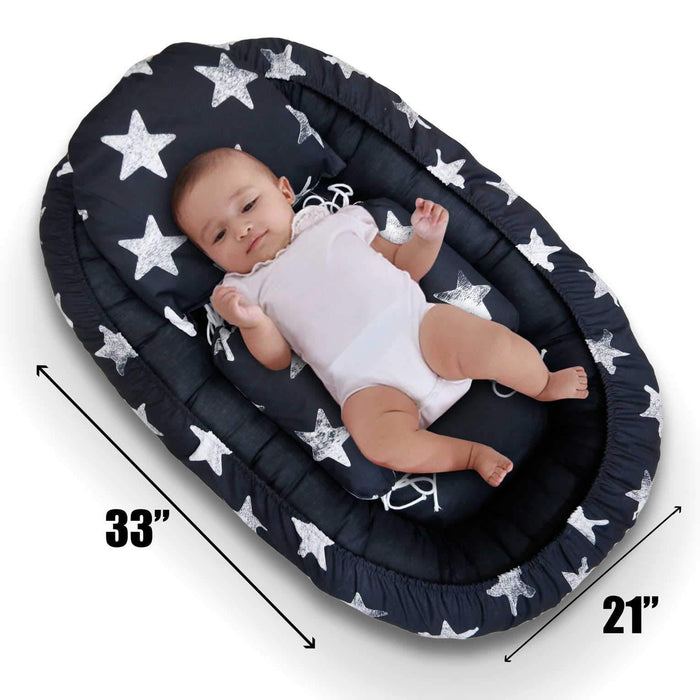 Black Stars Baby Snuggle Bed - Cotton Passion