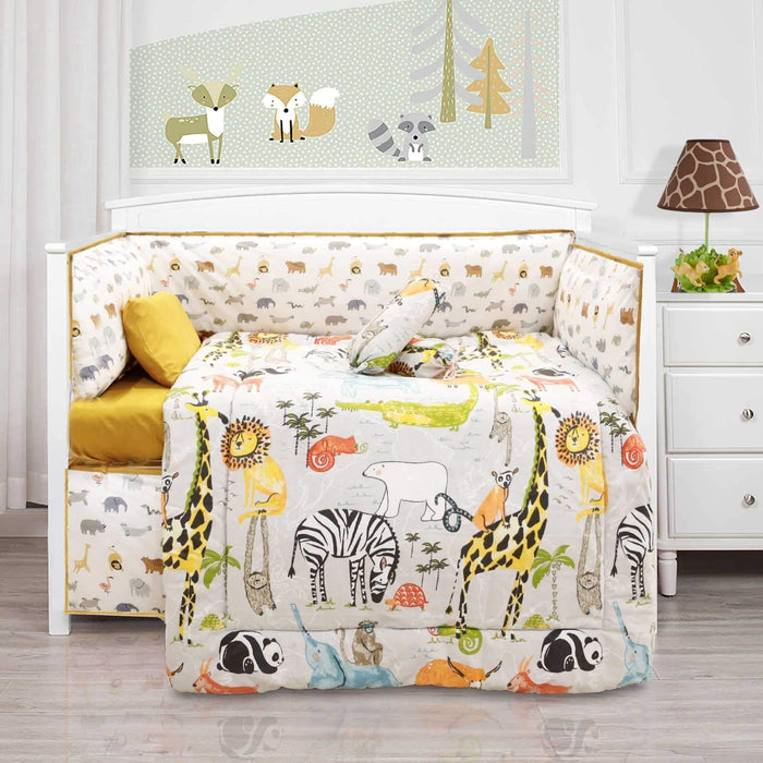 Animal Zoo Style Baby Cot Set - Cotton Passion