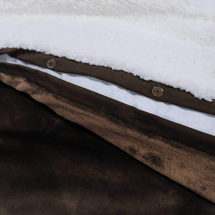 Ultrasoft & Warm Sherpa Rasaye/Quilt Chocolate Brown Double