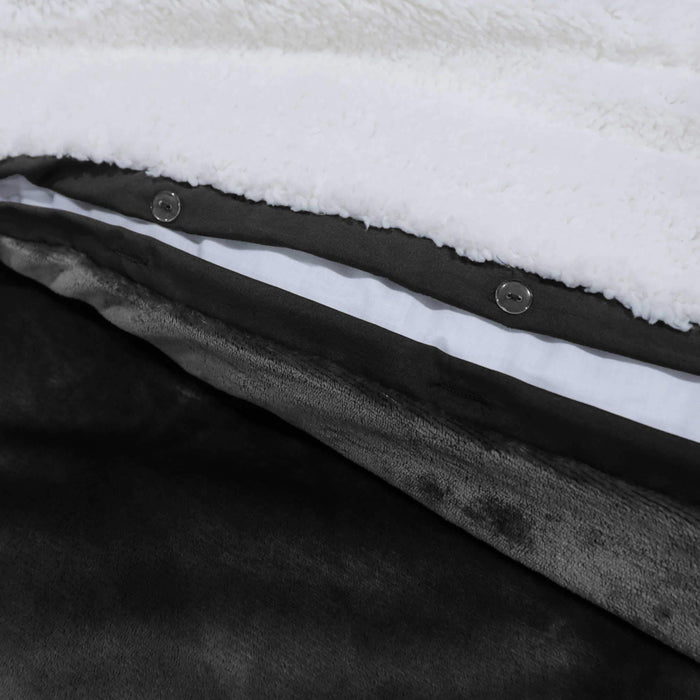 Ultrasoft & Warm Sherpa Rasaye/Quilt Black - Cotton Passion