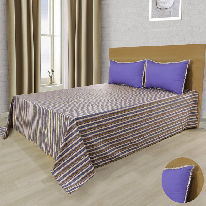 Double Purple Stripe style Double Bedsheet - Cotton Passion