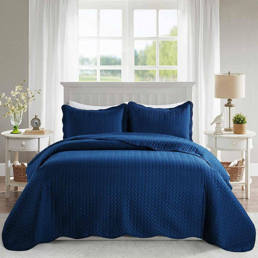 Ultrasonic Quilted Bedspread Navy - Cotton Passion