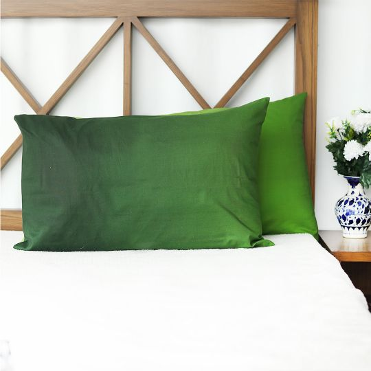 Ombre Green Pure Cotton Pillow Covers