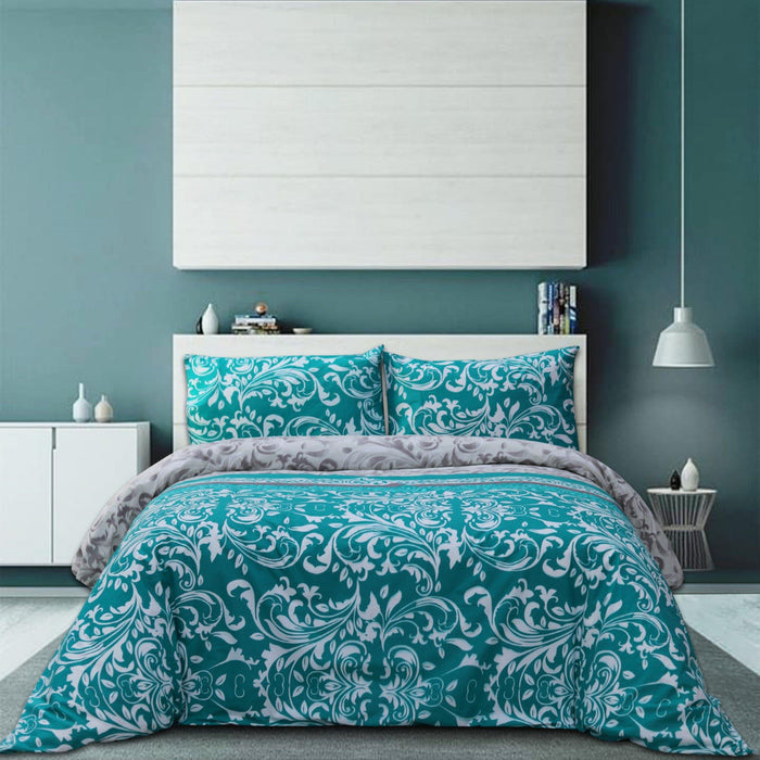 Traditional Teal Polycotton Bedsheet Set - Cotton Passion