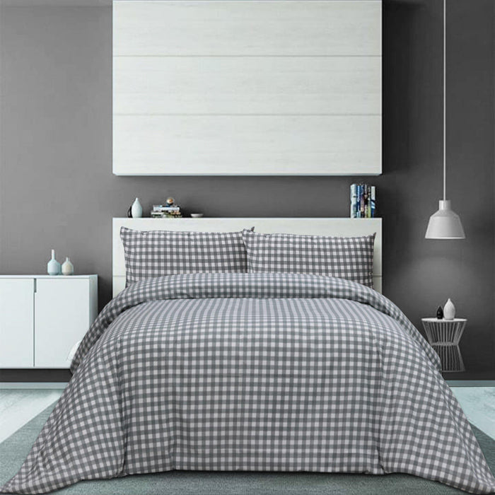 Grey checks Polycotton Bedsheet Set - Cotton Passion