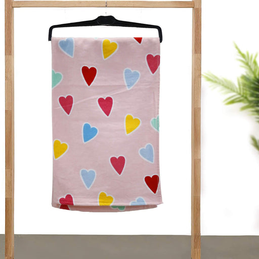 Pink Hearts Kids Soft Towel - Cotton Passion