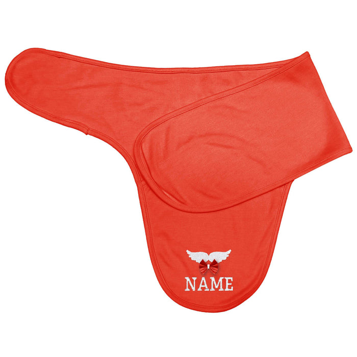 Custom Name White Wings Baby Swaddle