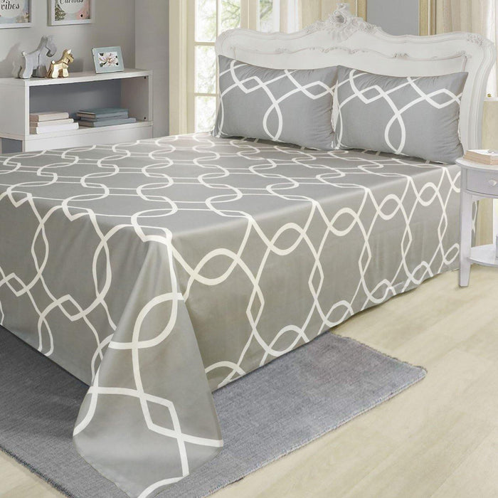 Rotary Danburite Grey Pure Cotton Bedsheet - Cotton Passion