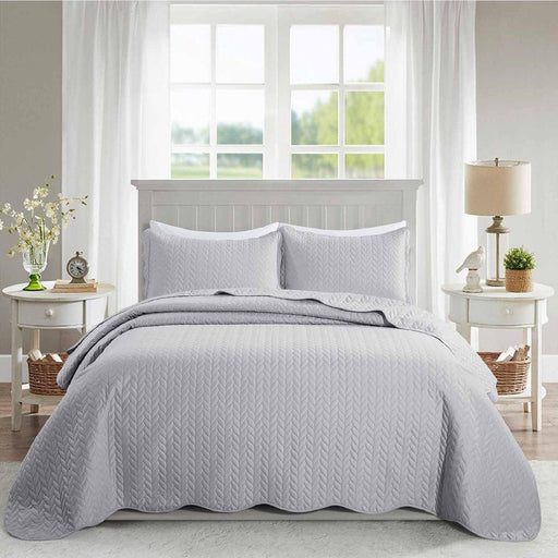 Ultrasonic Quilted Bedspread Silver - Cotton Passion