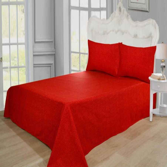 Bed Rock Red Pure Cotton Bedsheet - Cotton Passion
