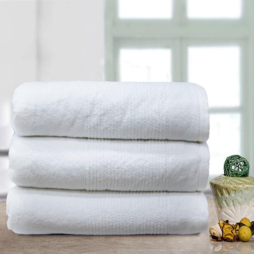 Thick Stripe Soft Towels White - Cotton Passion