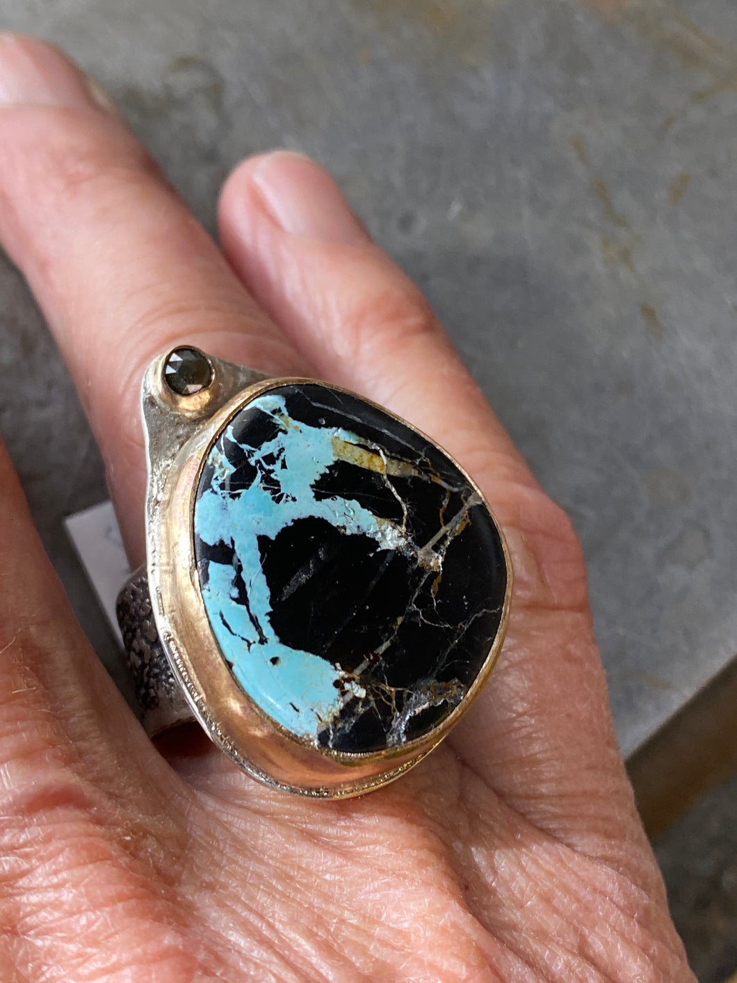 Blue Moon Turquoise and Diamond Ring