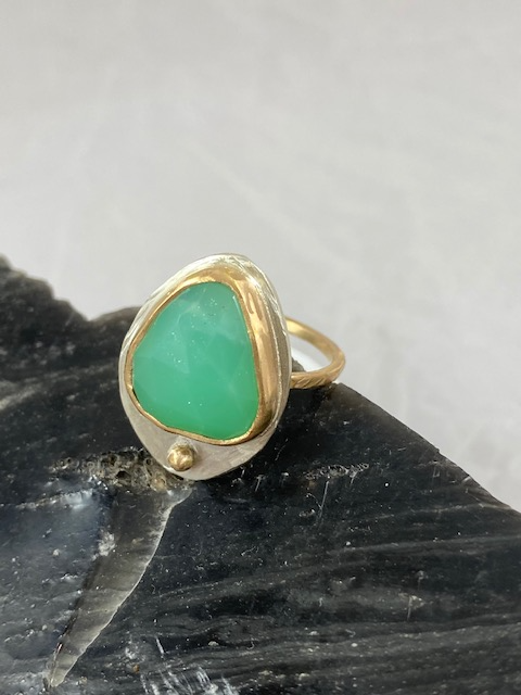 Stacker Ring--Green Chrysoprase