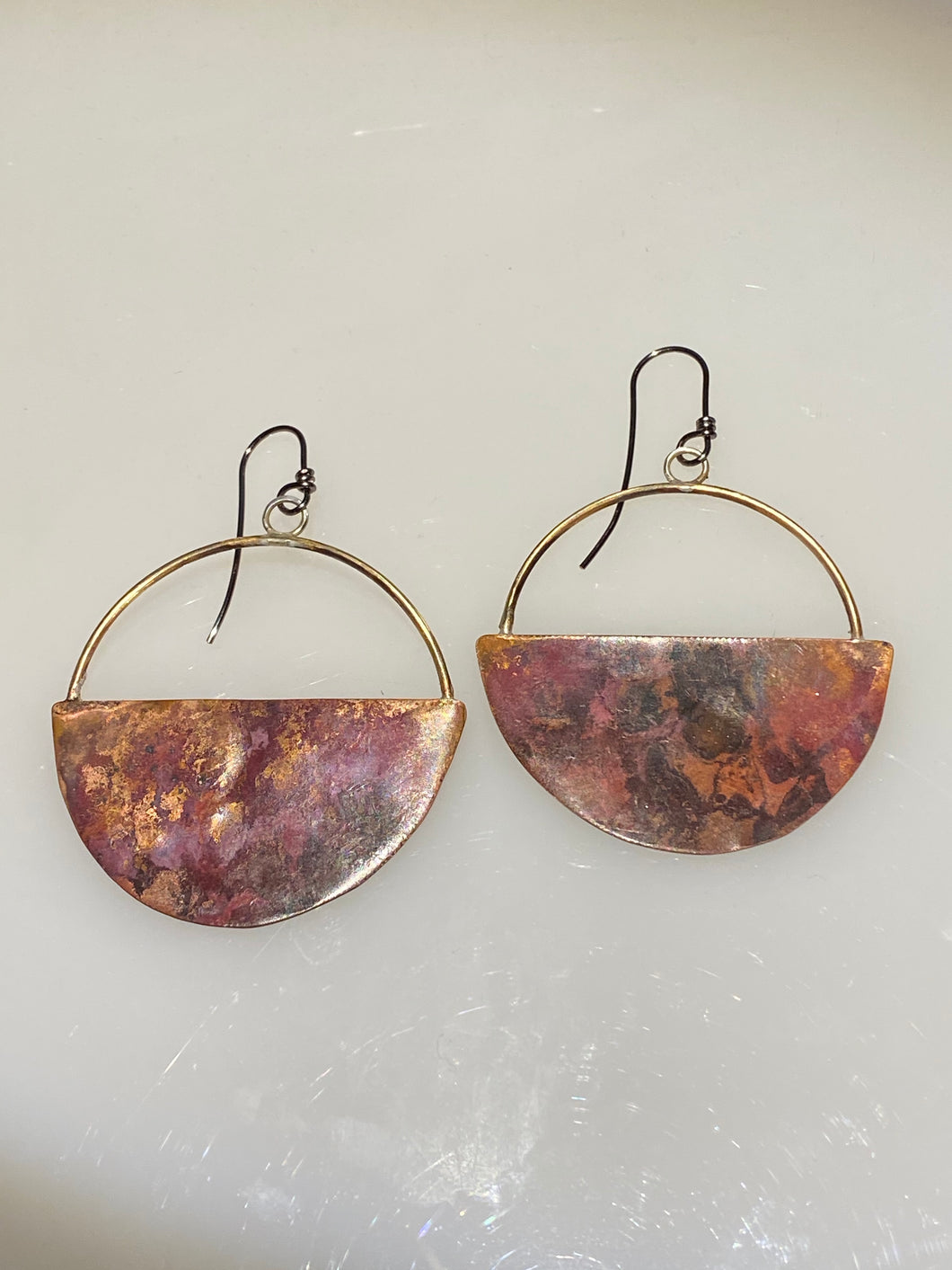 Copper and Brass Half Moon Earrings
