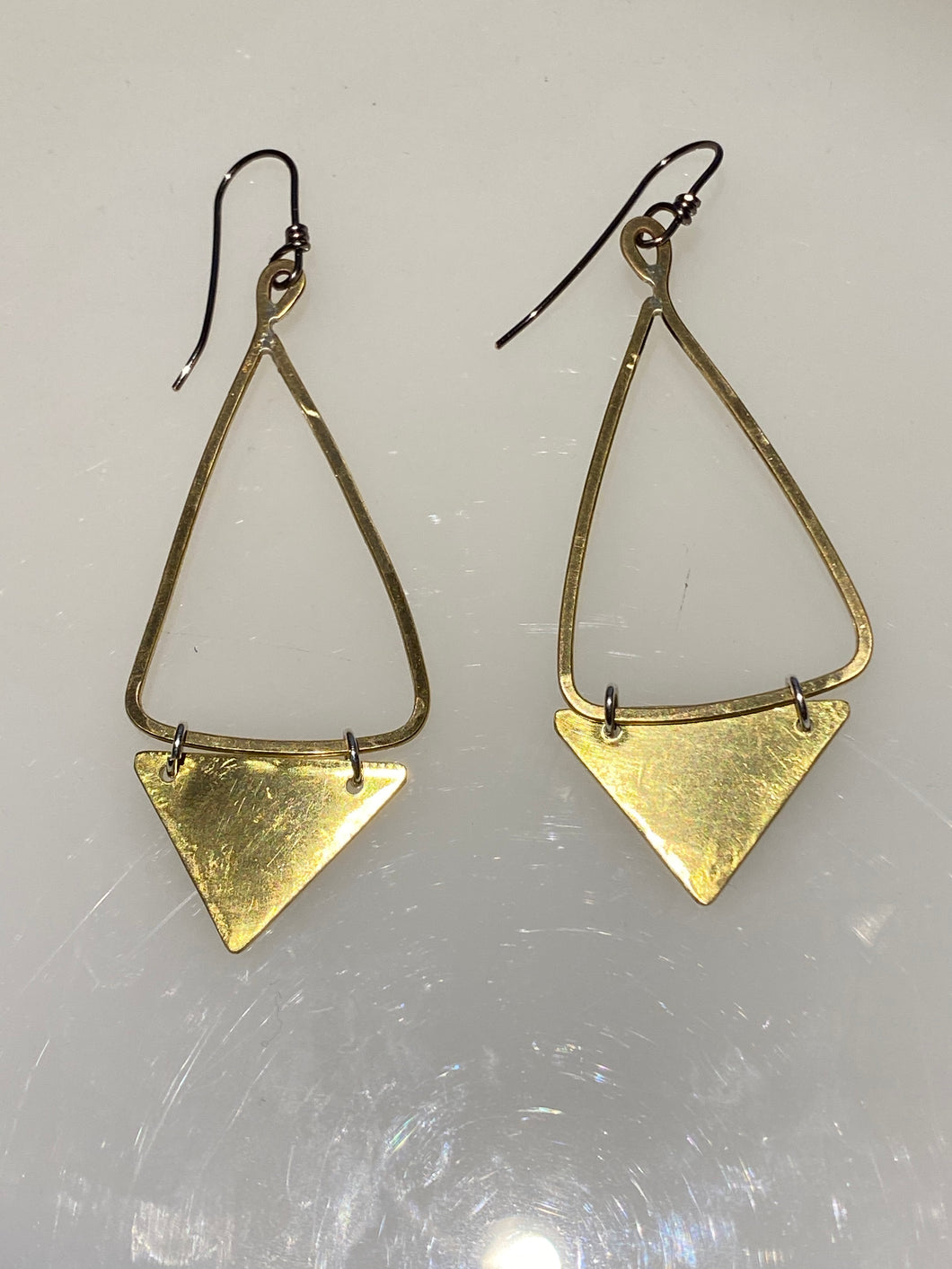 Brass Triangle Dangle Earrings