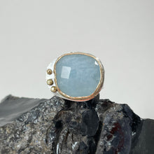 Load image into Gallery viewer, Aquamarine Ring Adorned with Gold Dots made in Bend Oregon by Junk to Jems