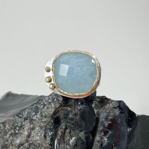 Aquamarine Ring Adorned with Gold Dots made in Bend Oregon by Junk to Jems