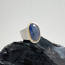 Load image into Gallery viewer, Blue Sapphire Ring with Gold Bezel, made in Bend Oregon by Junk to Jems