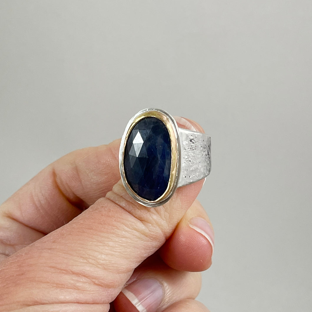 Blue Sapphire Ring with Gold Bezel, made in Bend Oregon by Junk to Jems