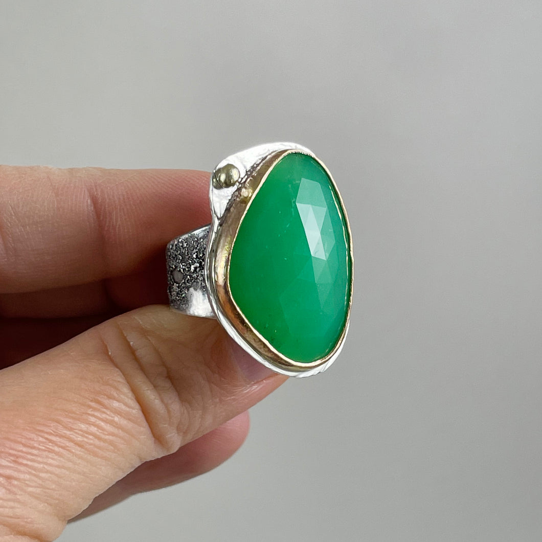 Chrysoprase Ring with Gold Bezel, made in Bend Oregon by Junk to Jems