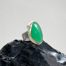 Load image into Gallery viewer, Chrysoprase Ring with Gold Bezel, made in Bend Oregon by Junk to Jems