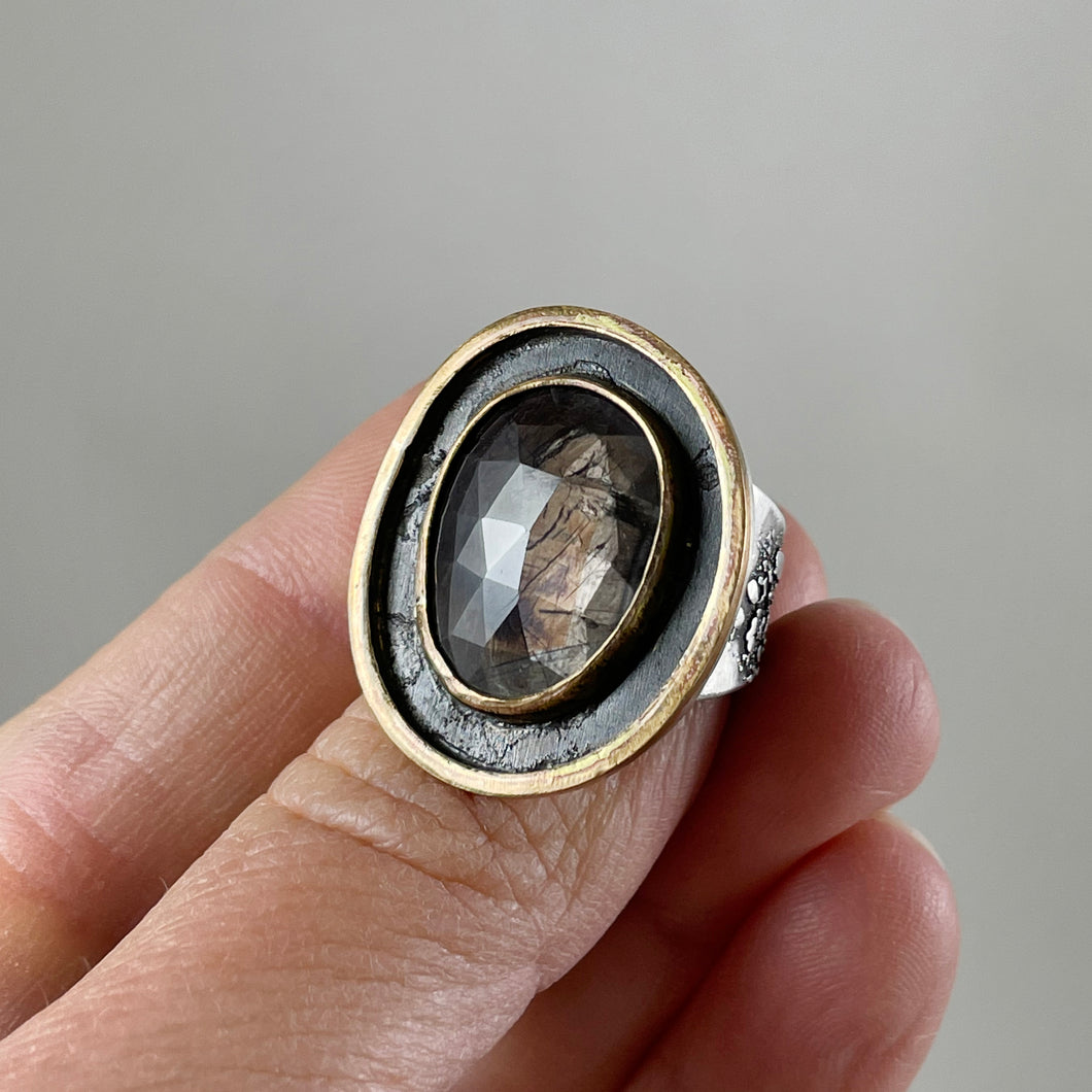 Dark Cognac Sapphire Ring with Double Gold Accent, made in Bend Oregon by Junk to Jems