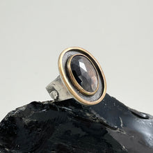 Load image into Gallery viewer, Dark Cognac Sapphire Ring with Double Gold Accent, made in Bend Oregon by Junk to Jems