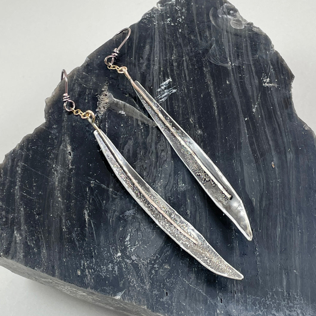 Curved Stemmed Icicle Sterling Silver Earrings