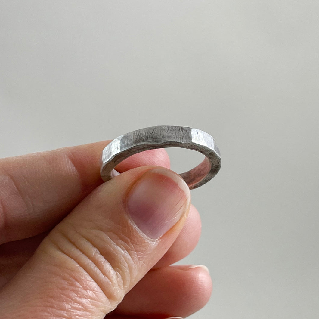 Hammered Sterling Silver Ring - Mens / Unisex - Made in Bend, Oregon by Junk to Jems