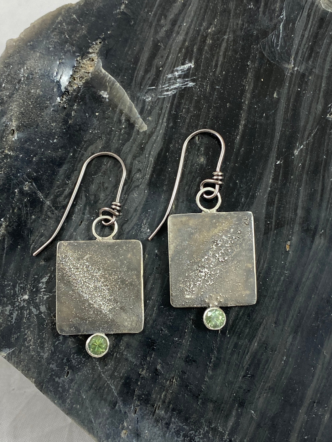 Green Sapphire and Silver Square Earrings