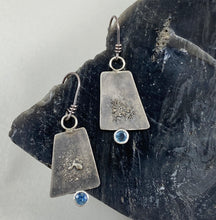 Load image into Gallery viewer, Blue Montana Sapphire and Silver Trapezoid Earrings made in Bend Oregon by Junk to Jems
