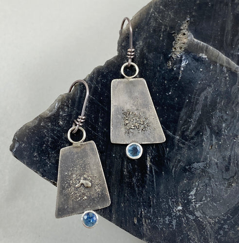 Blue Montana Sapphire and Silver Trapezoid Earrings made in Bend Oregon by Junk to Jems